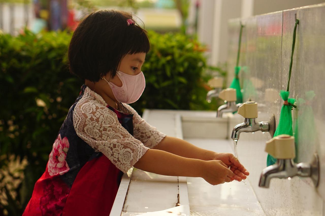 child, mask, hand washing