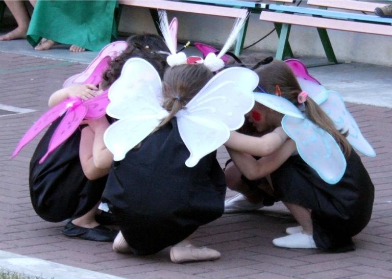children, feast, butterflies